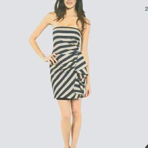 NWT BCBGMaxazari Striped Strapless Dress